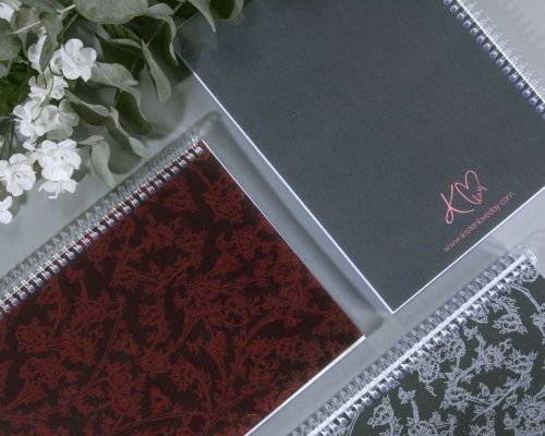 Signature print on A5 Spiral Bound Notebooks designed by Kristen Loveday