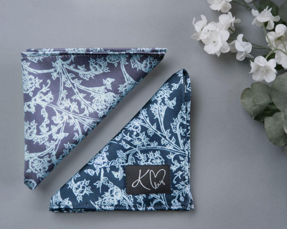 Both Indigo and Ice Signature Silk Pocket Squares handmade by Kristen Loveday