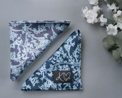 Both Indigo and Ice Signature Silk Pocket Squares handmade by Kristen Loveday