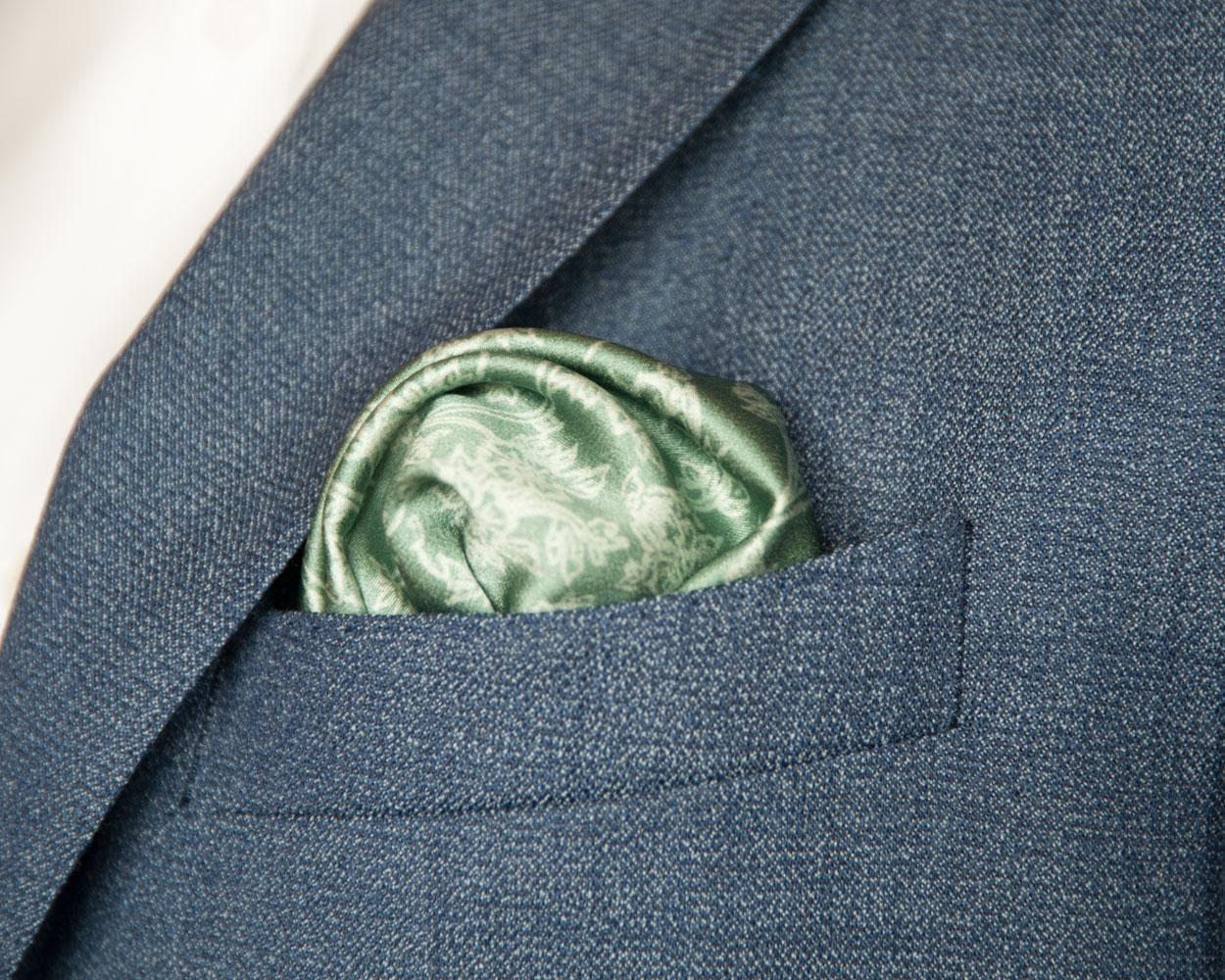 Signature Seagrass Silk Pocket Square handmade by Kristen Loveday