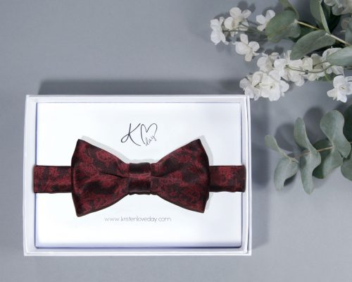 Signature Garnet Pre-Tied Bow Tie inside it's box